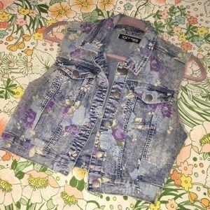 Forever 21 floral print denim vest